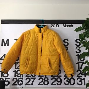 Yellow puffed coat!